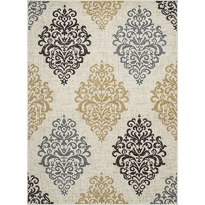 Alternate image 1 for New Casa Damask 7-Foot 10-Inch x 10-Foot  Area Rug in Yellow/Ivory