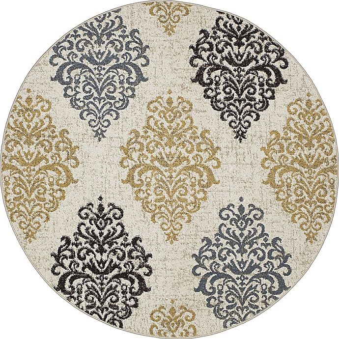 Alternate image 1 for New Casa Damask 5-Foot 3-Inch Round Area Rug in Yellow/Ivory