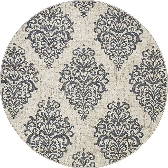 Alternate image 1 for New Casa Damask 7-Foot 10-Inch Round Area Rug in Ivory/Blue