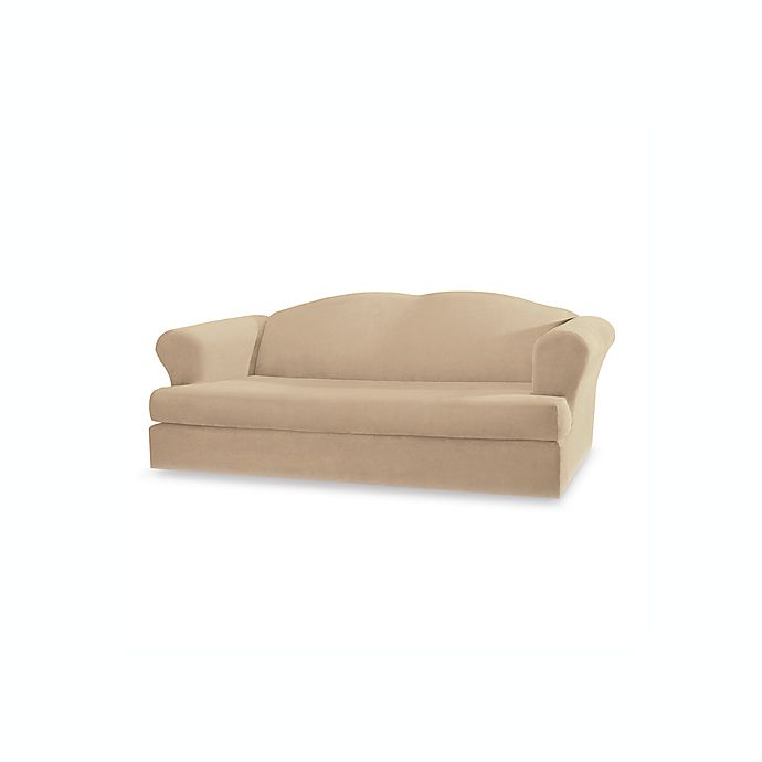 Sure Fit® Stretch Suede 2-Piece T-Cushion Sofa Cover | Bed Bath & Beyond