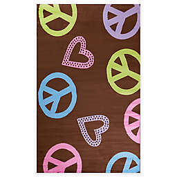 Concord Global Alisa Peace and Polka Hearts Rug in Brown