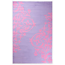 Concord Global Alisa Tattoo Scroll 2-Foot 7-Inch x 4-Foot 1-Inch Accent Rug in Pink