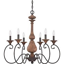 Quoizel Auburn 6-Light Chandelier in Rustic Black
