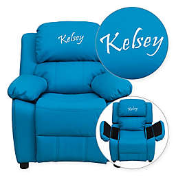 Flash Furniture Personalized Kids Recliner in Turquoise Vinyl