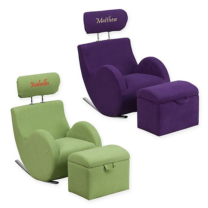 Super Flash Furniture Personalized Kids Rocking Chair And Ottoman Creativecarmelina Interior Chair Design Creativecarmelinacom