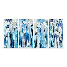 INK+IVY 4-Piece Ocean Breeze Blossom Canvas Wall Art