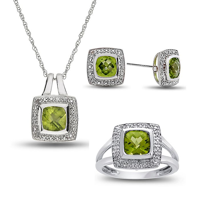 Alternate image 1 for Sterling Silver Peridot and Created White Sapphire Halo Size 8 Ring, Necklace, Stud Earring Set