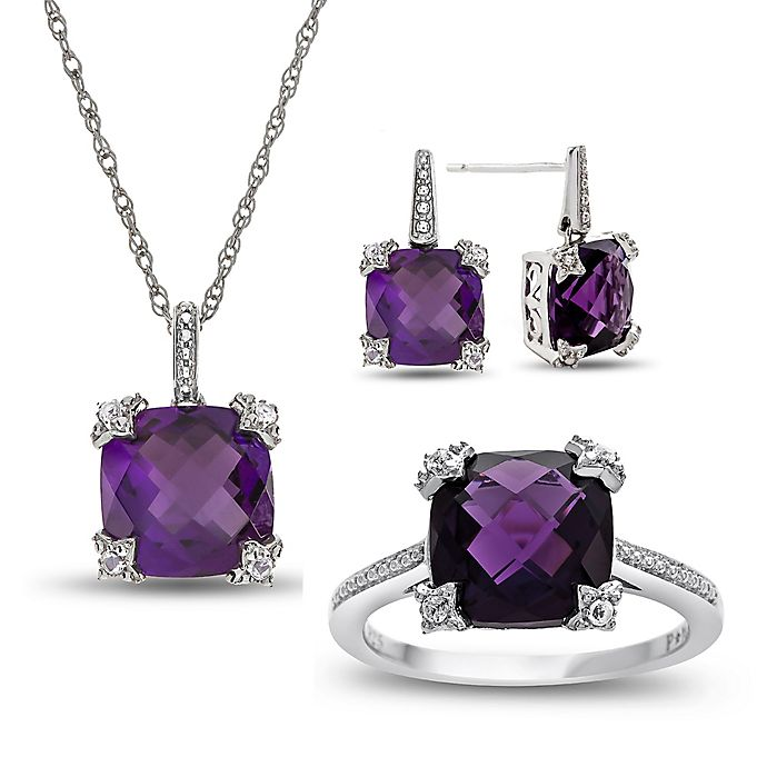 Alternate image 1 for Sterling Silver Created-Amethyst and Created-White Sapphire Size 8 Ring, Necklace, and Earring Set