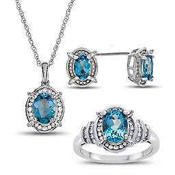 Sterling Silver Oval Blue Topaz and Created-White Sapphire Halo Ring, Necklace, and Earring Set