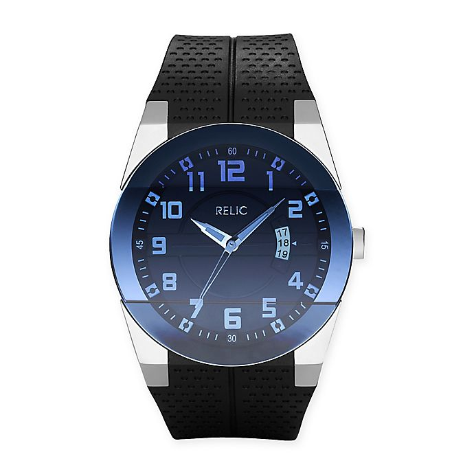 Alternate image 1 for Relic Jake Men's 43mm Rubber Strap Watch
