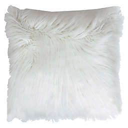 Thro Keller Faux Mongolian 26-Inch Square Throw Pillow in White
