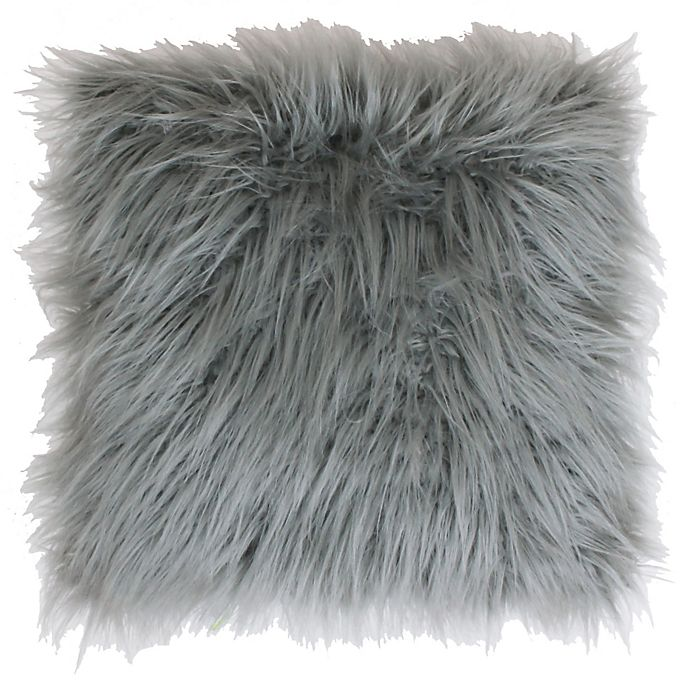 Alternate image 1 for Thro Keller Faux Mongolian 26-Inch Square Throw Pillow in Silver