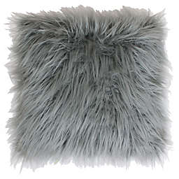 Thro Keller Faux Mongolian 26-Inch Square Throw Pillow in Silver