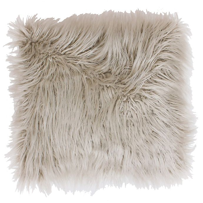 Alternate image 1 for Thro Keller Faux Mongolian 26-Inch Square Throw Pillow in Oatmeal