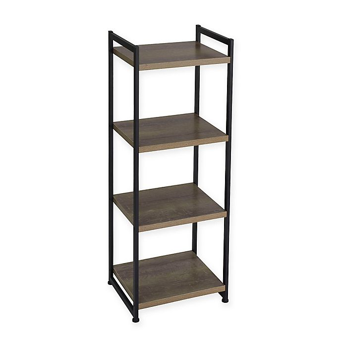 Alternate image 1 for Household Essentials® Ashwood 4-Shelf Storage Tower Bookcase