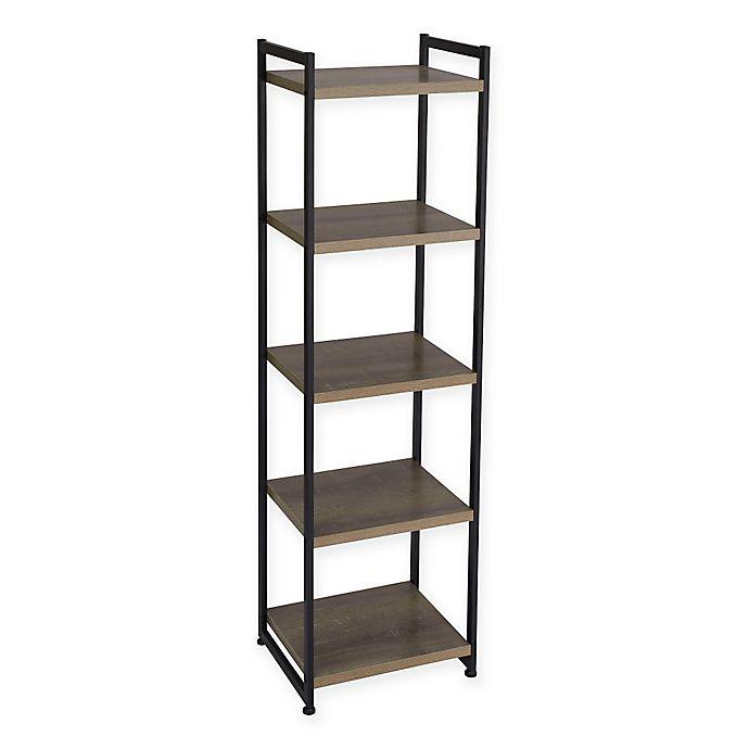 Alternate image 1 for Household Essentials® Ashwood 5-Shelf Storage Tower Bookcase