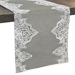 Simone Embroidered Table Runner In Grey