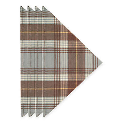 J. Queen New York™ Livingston Plaid Napkins in Mocha (Set of 4)