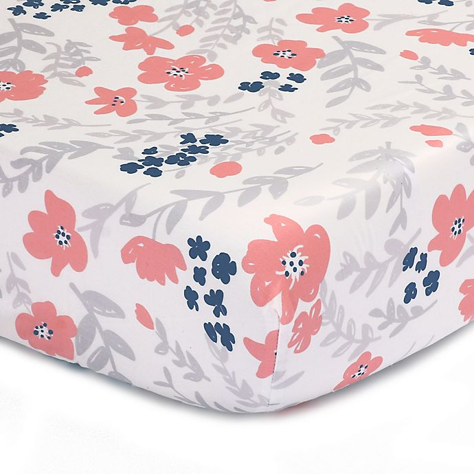 Alternate image 1 for The Peanutshell™  Floral Fitted Crib Sheet in Coral