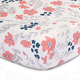 The Peanutshell™  Floral Fitted Crib Sheet in Coral