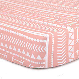 The Peanutshell™  Tribal Fitted Crib Sheet in Coral