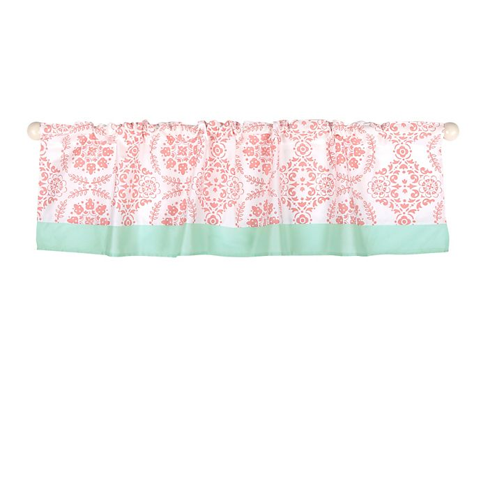 Alternate image 1 for The Peanutshell™  Dot Medallions Window Valance in Coral/Mint