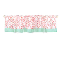 The Peanut Shell™ Dot Medallions Window Valance in Coral/Mint