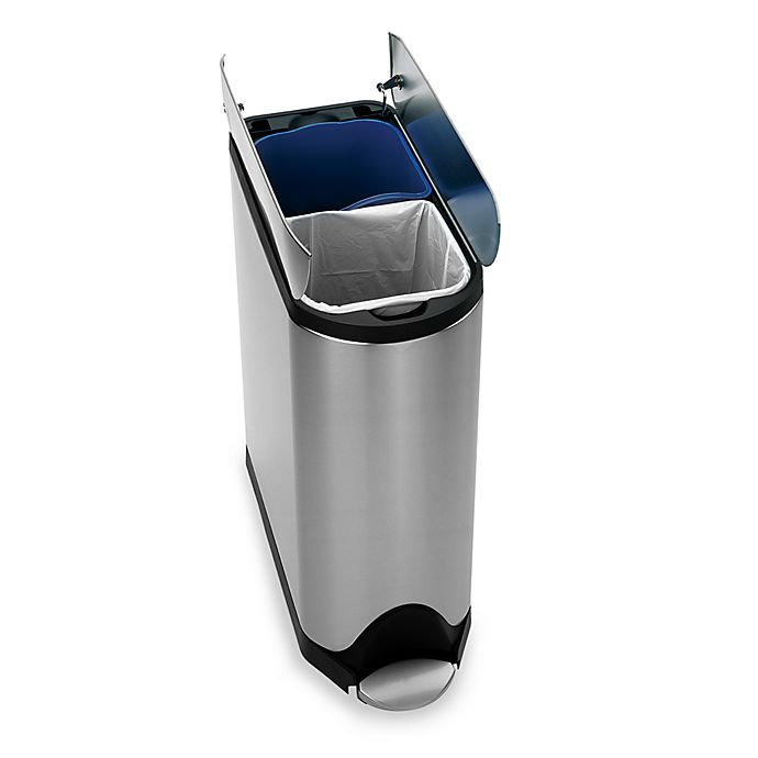 Alternate image 1 for simplehuman® Brushed Stainless Steel Fingerprint-Proof 40-Liter Butterfly Recycler Trash Can