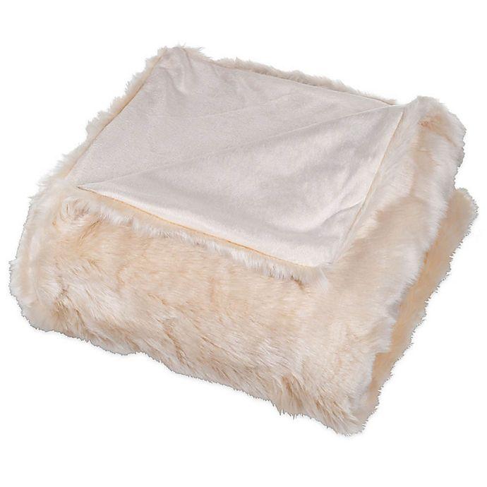 Alternate image 1 for Nottingham Home Faux Fur Throw Blanket in Beige