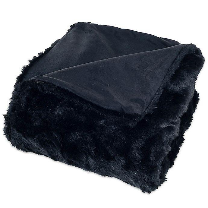 Alternate image 1 for Nottingham Home Faux Fur Throw Blanket in Black