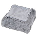 Nottingham Home Faux Fur Throw Blanket in Grey