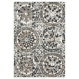 Weave & Wander Perry Floral Mosaic Rug in Silver Mink/Gray