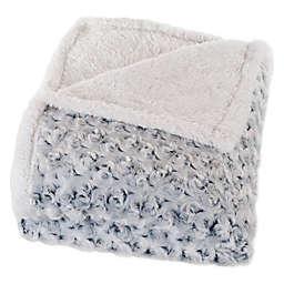 Nottingham Home Plush Flower Fleece Throw Blanket in Black