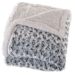 Nottingham Home Plush Flower Fleece Throw Blanket in Dark Green