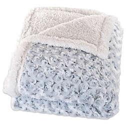 Nottingham Home Plush Flower Fleece Throw Blanket in Grey