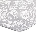The Peanutshell™  Damask Fitted Crib Sheet in Grey