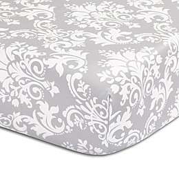 The Peanut Shell™ Damask Fitted Crib Sheet in Grey