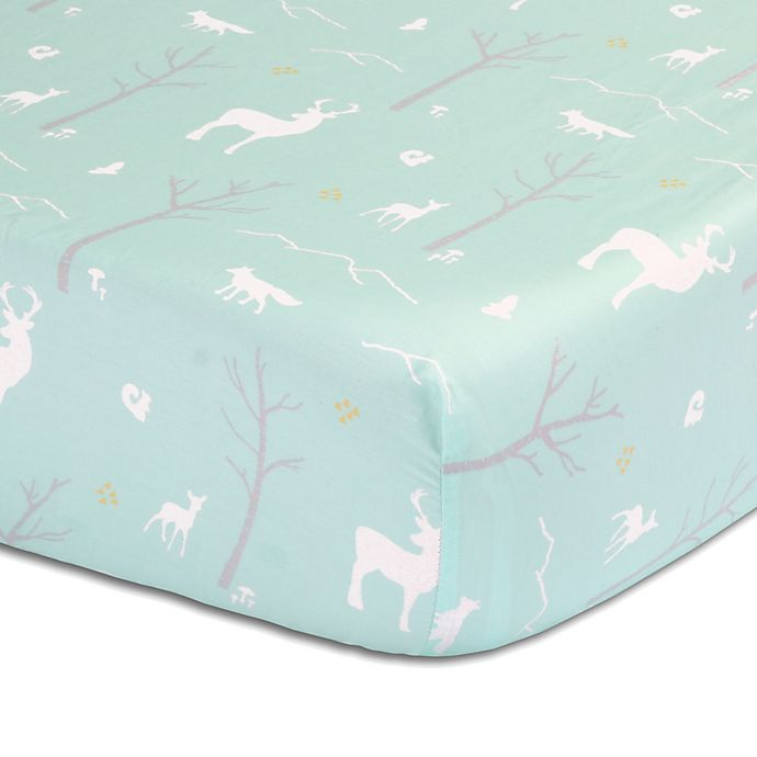 Alternate image 1 for The Peanutshell™  Woodland Fitted Crib Sheet in Mint