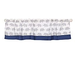 The Peanutshell™  Elephant Window Valance in Navy/Grey