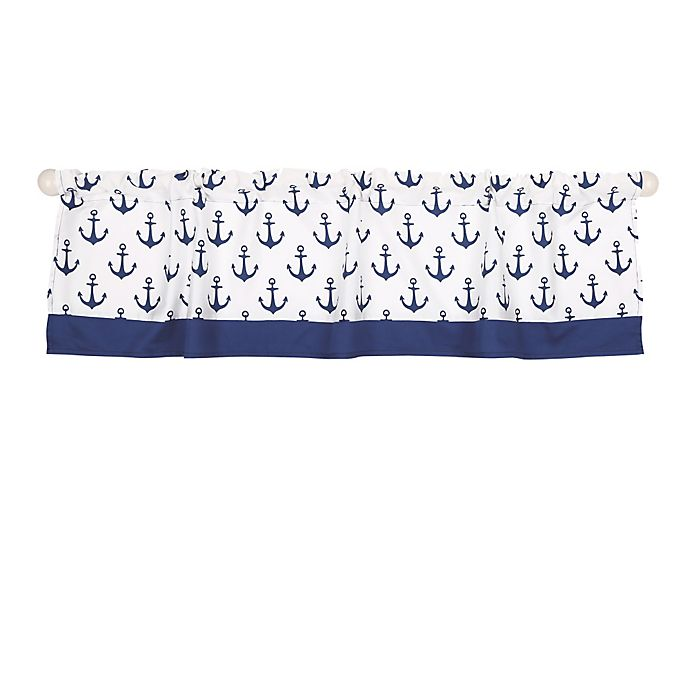 Alternate image 1 for The Peanutshell™  Anchor Window Valance in White/Navy