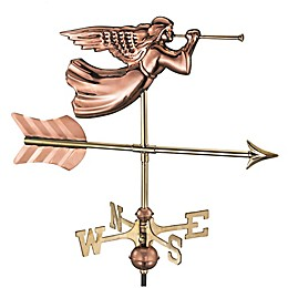 Good Directions© Angel Weathervane in Polished Copper with Roof Mount