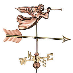 Good Directions© Angel Weathervane in Polished Copper with Garden Pole