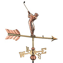 Good Directions© Golfer Weathervane in Polished Copper w/Roof Mount