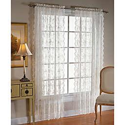 Petite Fleur 84-Inch Rod Pocket Window Curtain Panel in White (Single)