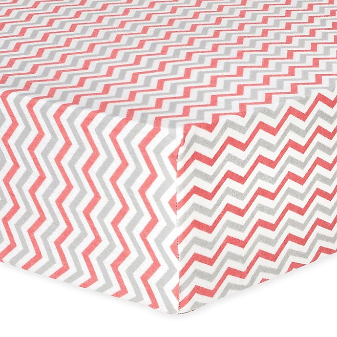 Alternate image 1 for Trend Lab® Chevron Flannel Fitted Crib Sheet in Coral and Grey
