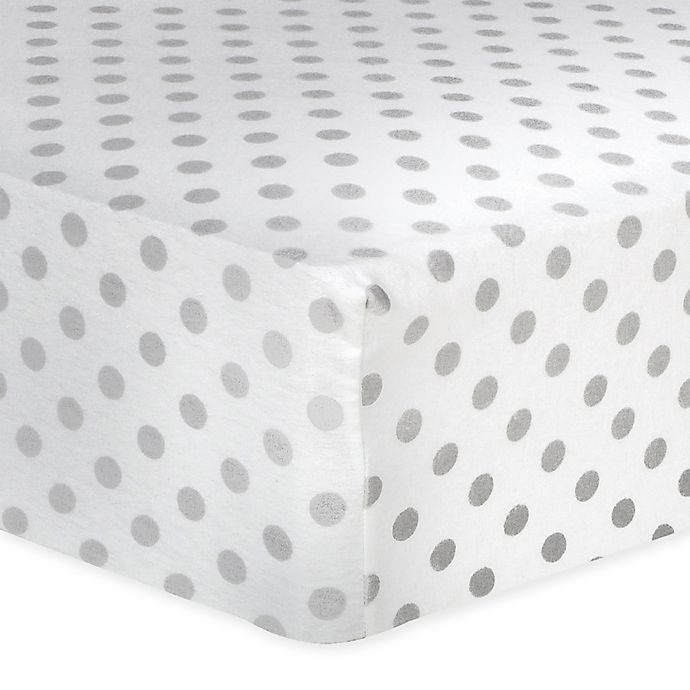Alternate image 1 for Trend Lab® Dot Flannel Fitted Crib Sheet in Grey