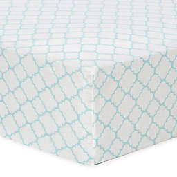 Trend Lab® Quatrefoil Flannel Fitted Crib Sheet in Mint