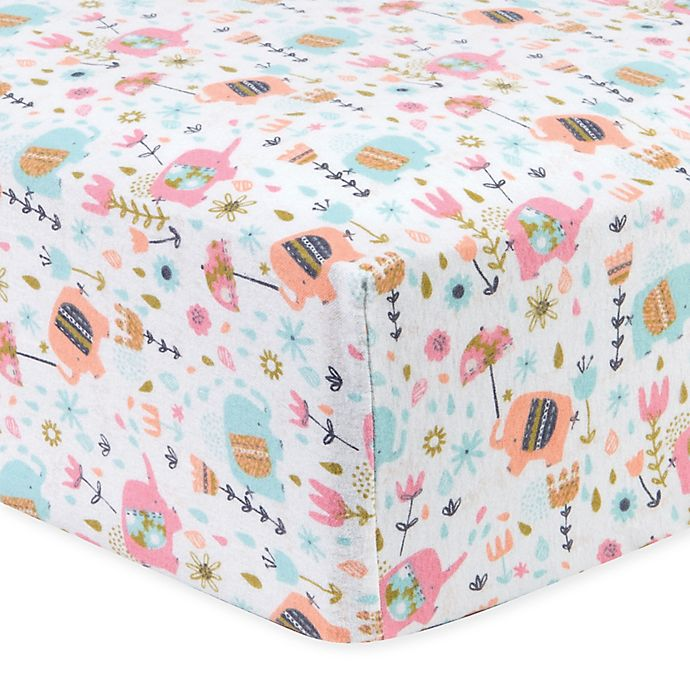 Alternate image 1 for Trend Lab® Playful Elephants Flannel Fitted Crib Sheet