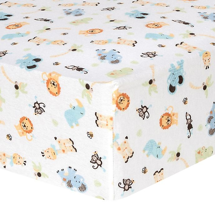 Alternate image 1 for Trend Lab® Jungle Friends Flannel Fitted Crib Sheet
