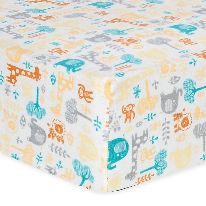Alternate image 1 for Trend Lab® Lullaby Zoo Flannel Fitted Crib Sheet